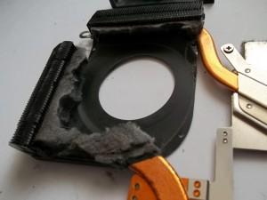 Система охлаждения ноутбука HP Pavilion dv6700 полностью забитая спресованной пылью