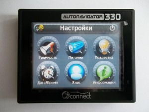 """Меню """"Настройки"""" автонавигатора AUTONAVIGATOR 330 JJ-Connect"""