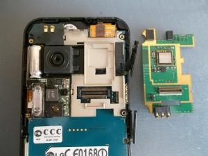 Зеленая плата сотового телефона LG KC910