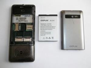Сотовый телефон Explay MU240 со снятой задней крышкой и вынутым аккумулятором