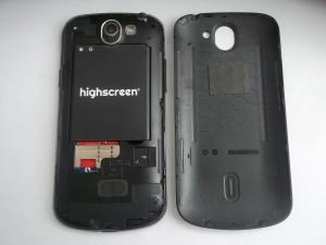 Сотовый телефон Highscreen Alpha Rage со снятой задней крышкой